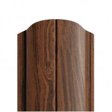 Штакетник полукруглый 122мм Полиэстер (двусторонний) цвет орех