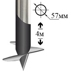 Винтовая свая оцинкованная 57мм 4 метра