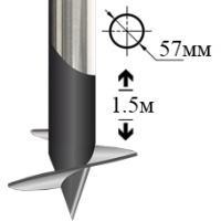Винтовая свая оцинкованная 57мм 1.5 метра